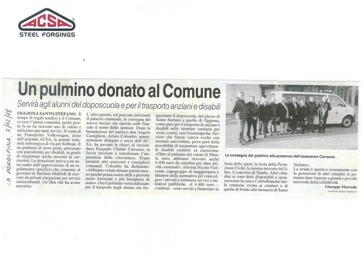 Pulmino donato Oggiona